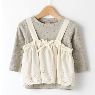 petit main - 新品未使用 プティマイン スカラップレースビスチェ×花柄Tシャツセット