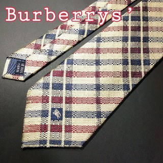 BURBERRY - 【極美品】BURBERRYS チェック ネクタイ ベージュ ホースマーク