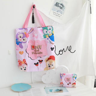 ダッフィー(ダッフィー)の日本未発売 ダッフィーフレンズ エコバッグ お買い物袋 トートバッグ 仲良し4人(エコバッグ)