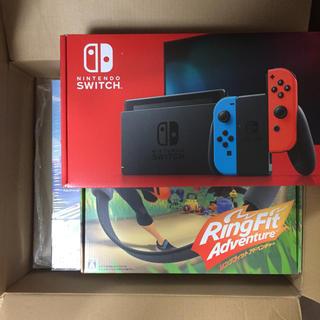 ニンテンドースイッチ(Nintendo Switch)の新品未開封 任天堂スイッチ ネオン 本体 リングフィットアドベンチャー セット(家庭用ゲーム機本体)