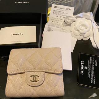 CHANEL - シャネル財布 三つ折り財布 ホワイトベージュ ゴールドシ♤ャネル 白