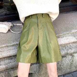 ZARA - 1点のみ!XL 新品 レザーハーフパンツ オリーブ色 レディース パンツ  韓国