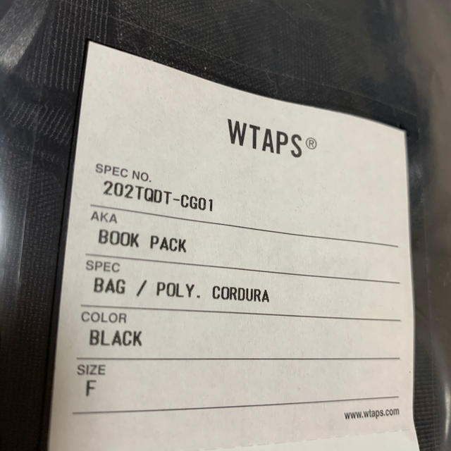 W)taps(ダブルタップス)の新品 WTAPS BOOK PACK BACK 20AW バックパック 黒 メンズのバッグ(バッグパック/リュック)の商品写真