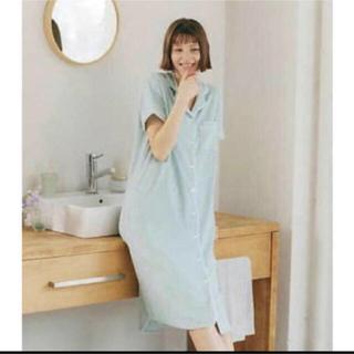 ジーユー(GU)のGU×SABON パイルパジャマ ワンピース 半袖 Mint S ライトグリーン(パジャマ)
