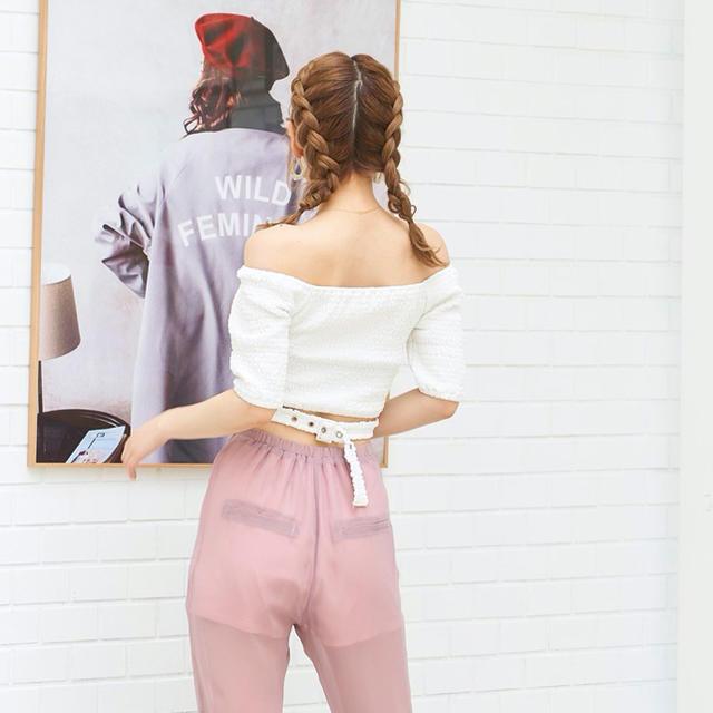 eimy istoire(エイミーイストワール)のDarich シャーリングクロップドトップス   レディースのトップス(Tシャツ(半袖/袖なし))の商品写真
