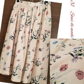 トランテアンソンドゥモード(31 Sons de mode)の花柄 くすみピンク ふんわり Aライン 大人可愛い(ひざ丈スカート)