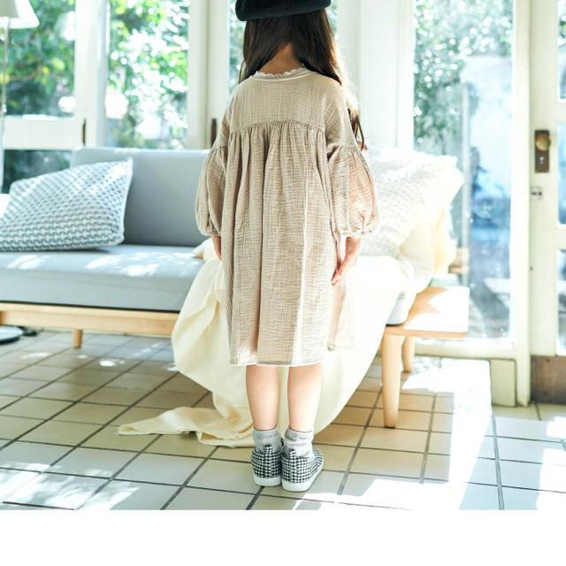 petit main(プティマイン)の新品未使用✳︎ダブルガーゼ 前あきワンピース 110cm キッズ/ベビー/マタニティのキッズ服女の子用(90cm~)(ワンピース)の商品写真
