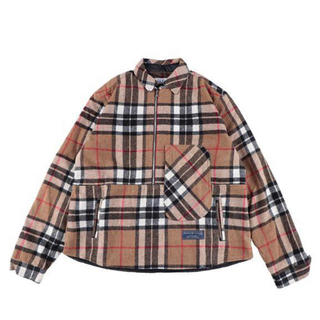 ピースマイナスワン(PEACEMINUSONE)のWE11DONE  CAMEL HALF ZIP PLAID SHIRT(シャツ)