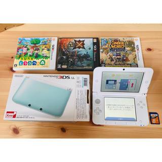 ニンテンドー3DS - [美品]Nintendo 3DS LLミント/ホワイト+8GBメモリ+ソフト3点