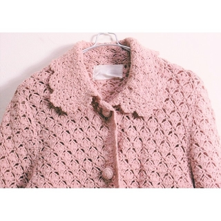 ピンクハウス(PINK HOUSE)のPINK HOUSE★スカラップ透かし編みカーディガン(カーディガン)