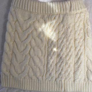 ヘザー(heather)のホワイト ニット ミニスカート 秋 冬服 ヘザー(ミニスカート)