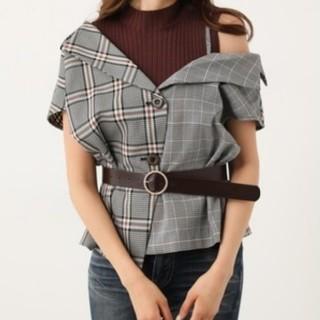 リエンダ(rienda)のrienda♡アシメ襟チェックシャツ(シャツ/ブラウス(半袖/袖なし))