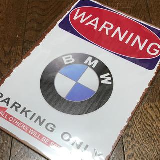 WARNING BMW パーキングオンリー ブリキ看板