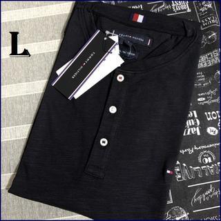 トミーヒルフィガー(TOMMY HILFIGER)のスラブ ヘンリーネックTシャツ ブラックL TOMMY HILFIGER(Tシャツ/カットソー(半袖/袖なし))