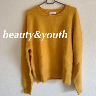 ビューティアンドユースユナイテッドアローズ(BEAUTY&YOUTH UNITED ARROWS)のラクーンクルーネックニット イエロー  黄色 フェレット ユナイテッドアローズ (ニット/セーター)