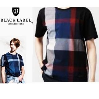 バーバリーブラックレーベル(BURBERRY BLACK LABEL)のusedビックスケールクレストブリッジチェックTシャツ L ネイビー×レッド(シャツ)