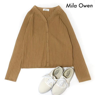 Mila Owen - Mila Owen ミラオーウェン★リブ編み 長袖カーディガン キャメル