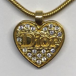 Christian Dior - クリスチャンディオール  Dior ゴールドハート ラインストーン ネックレス