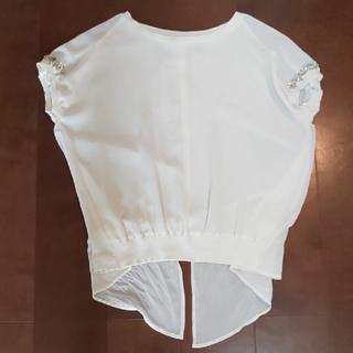 リランドチュール(Rirandture)のまいまい様専用Rirandture 透け感のかわいい袖ビジュー半袖ブラウス(シャツ/ブラウス(半袖/袖なし))