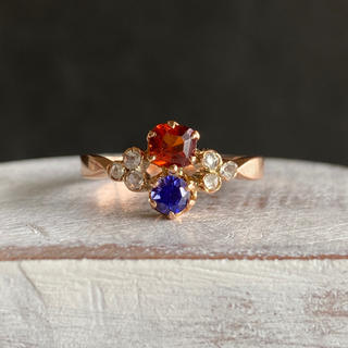 フランス アンティーク ヘソナイトガーネット サファイア ダイヤモンド 18金