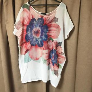 リエンダ(rienda)のリエンダ 花柄 ビッグ Tシャツ チュニック Mサイズ ゆったり(チュニック)