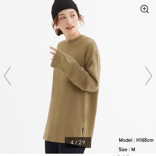 ジーユー(GU)のGU ロングスリーブT ベージュ ブラウン(Tシャツ(長袖/七分))