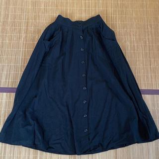 ローリーズファーム(LOWRYS FARM)のローリーズファーム 前ボタン フレアスカート ブラック(ロングスカート)