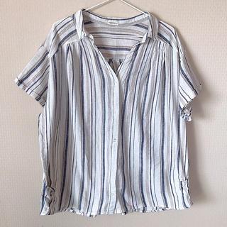 31  ストライプシャツ 大きいサイズ 4L