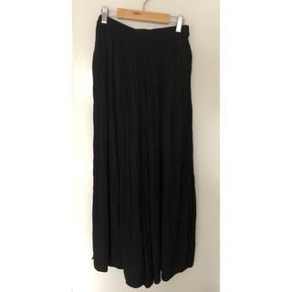 UNIQLO - ユニクロ 美品ワッシャーサテンスカートパンツM黒 ペチコート無し