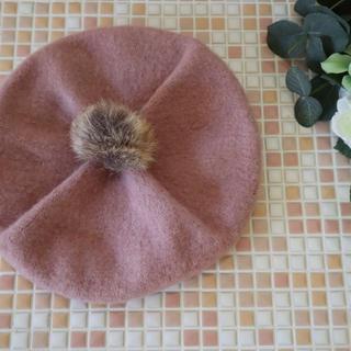 アンパサンド(ampersand)の美品 アンパサンド ベレー帽 くすみピンク(帽子)
