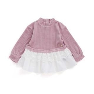 プティマイン(petit main)のapres les cours(アプレレクール)裾レースベロアチュニック100(Tシャツ/カットソー)