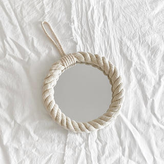 フランフラン(Francfranc)のhandmade wall rope mirror(壁掛け鏡)(壁掛けミラー)