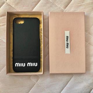 ミュウミュウ(miumiu)のmiu miu  ミュウミュウ  iPhone7、8ケース ブラック(iPhoneケース)