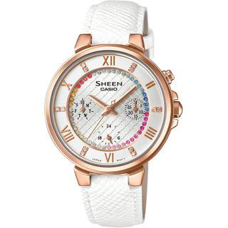 カシオ(CASIO)のカシオ SHEEN BASIC 腕時計 ホワイト 本革バンド(腕時計)