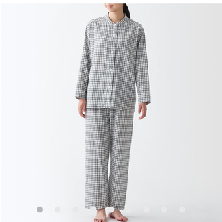 MUJI (無印良品) - 脇に縫い目のない 二重ガーゼスタンドカラーパジャマ 婦人S~M