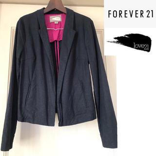 フォーエバートゥエンティーワン(FOREVER 21)のFOREVER21  Love21  リンネル テーラードジャケット ネイビー(テーラードジャケット)
