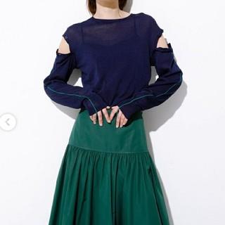 ルシェルブルー(LE CIEL BLEU)のルシェルブルー★Removable Sleeve Knit Topsネイビー(カットソー(長袖/七分))