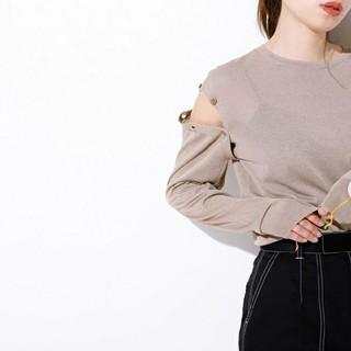 ルシェルブルー(LE CIEL BLEU)のルシェルブルー★Removable Sleeve Knit Topsベージュ(カットソー(長袖/七分))