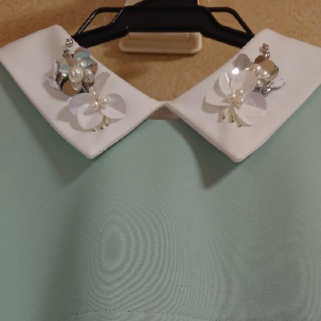 Chesty(チェスティ)の【美品】チェスティ ワンピース 襟付き ビジュー 長袖 1 ミントグリーン レディースのワンピース(ひざ丈ワンピース)の商品写真