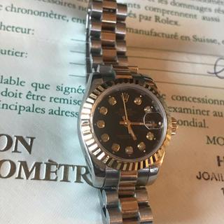 ロレックス(ROLEX)のロレックス デイトジャスト 69173G レディース ブラック文字盤 ギャラ付き(腕時計)