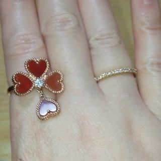 可愛い&綺麗 四つ葉のクローバー レッドリング(リング(指輪))