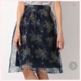 ヘザー(heather)の秋♡【Heather♡ヘザー】ネイビー♡フラワー柄♡オーガンジー♡スカート♡(ひざ丈スカート)