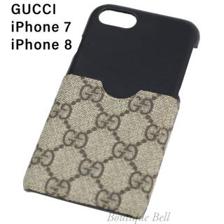 Gucci - 【GUCCI】グッチ レザー×GG柄 ポケット付 iPhone7/8ケース