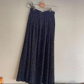 プラステ(PLST)のplst ロングスカート 黒×白水玉柄 XSサイズ(ロングスカート)