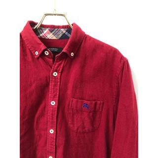 バーバリーブラックレーベル(BURBERRY BLACK LABEL)のバーバリーブラックレーベル ホースマーク刺繍 チェック ネルシャツ 2 レッド(シャツ)