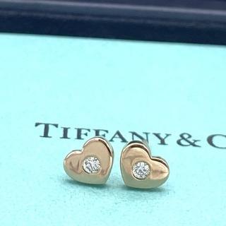 ティファニー(Tiffany & Co.)の希少 美品 ティファニー パフ ハート ゴールド ダイヤ ピアス JJ53(ピアス)