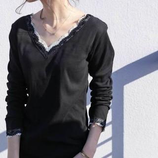 アンティカ(antiqua)のantiqua レースリブトップス 2way ブラック(Tシャツ(長袖/七分))