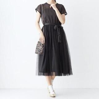 メルロー(merlot)のメルロープリュス デコルテシースルーワンピース ブラック(ロングドレス)