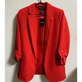 フォーエバートゥエンティーワン(FOREVER 21)のタグ付き FORVEVER21 ジャケット 赤 レッド アウター(テーラードジャケット)