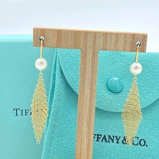 ティファニー(Tiffany & Co.)の極美品 希少 ティファニー メッシュ パール ゴールド フック ピアス LI60(ピアス)
